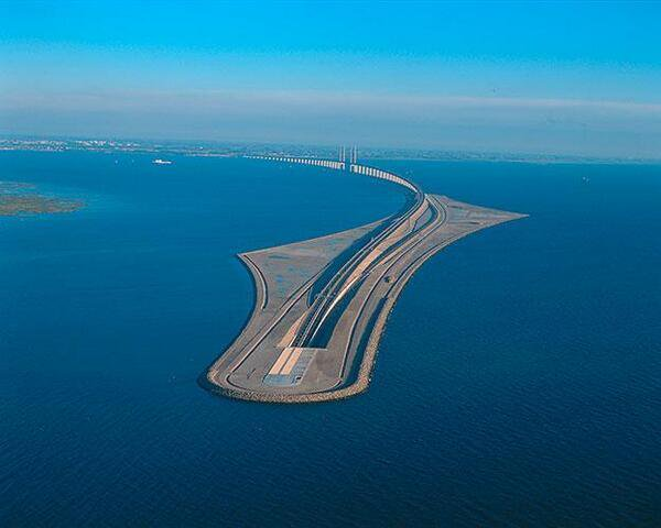 Puente Oresund desde cielo Copenhague