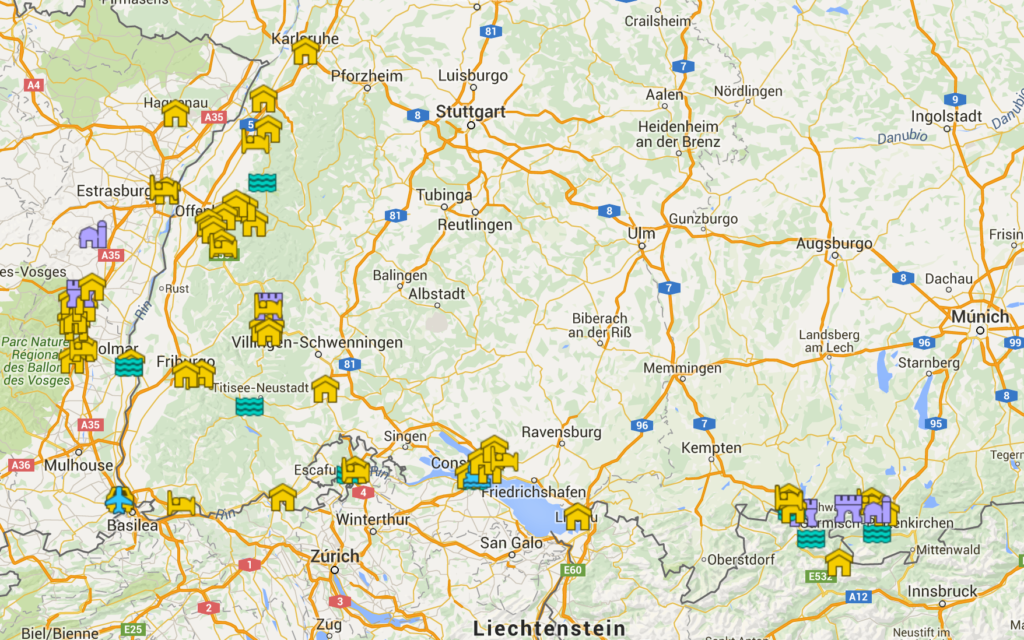 Mapa viaje Selva Negra y Alsacia